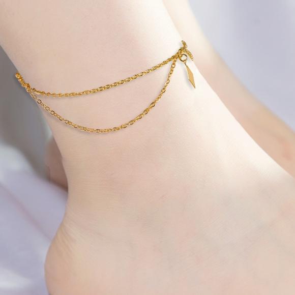57acc68e0 Jewelry | Gold Geometric Anklet Boho Layered Ankle Bracelet | Poshmark